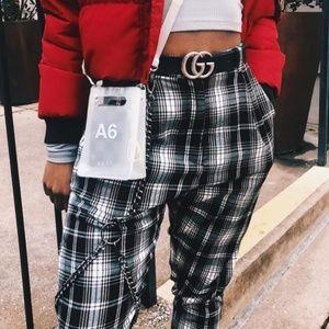 Lf plaid pants w/chain